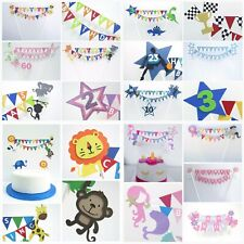 Personalised Cake Topper Bunting Mermaid Fairy Pirate Emoji Unicorn Balloons