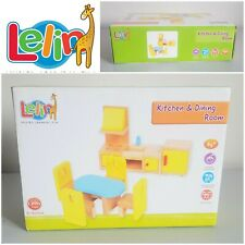 Lelin Wooden Kitchen & Dining Playset Children's Pretend Playset Dolls House New