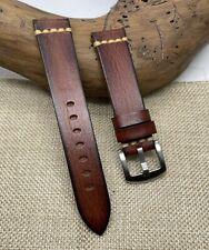 Uhrenarmband Vintage Look -Antik Finish -  Leder Handmade Braun 20 mm