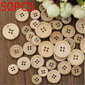 50PCS 15mm 20mm Wooden Buttons Natural Color Round 4-Holes Sewing Scrapbooking