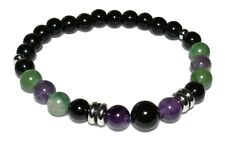Black Tourmaline Obsidian Protection Bracelet  Amethyst & African Jade Unisex