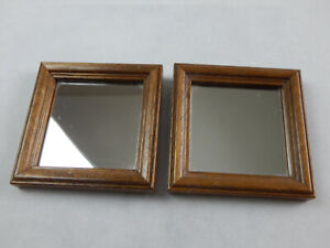 2 Small Wood Frame Accent Mirrors