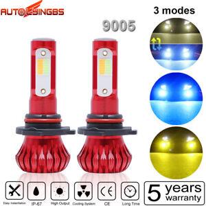 Pair DUAL Color Car 9005 LED Strobe Fog Light/Headlight Bulbs Three Mode Version