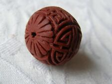 4 Brown Carved Cinnabar Lacquerware Beads, Round Focal 25mm. Jewellery/Crafts