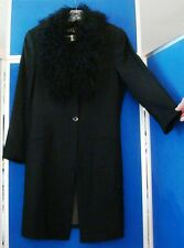 EUC Couture THALIAN Black SKIRT SUIT  & Thigh Length COAT w. FUR COLLAR Sz 12-14