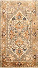 Ivory/ Orange Geometric Indo Heriz Oriental Area Rug Hand-knotted 6'x9' Carpet