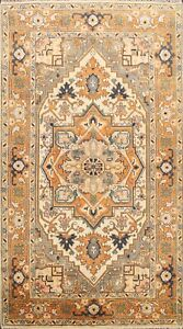 Ivory/ Orange Geometric Indo Heriz Oriental Area Rug Hand-knotted 6'x9' Carpet