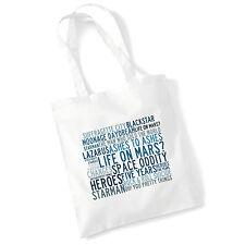 Art Studio Tote Bag DAVID BOWIE Lyrics Print Album Poster Gym Beach Shopper Gift