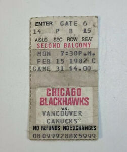 1982 Chicago Blackhawks v Vancouver Canucks Ticket Stub Chicago Stadium 2/15/82