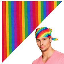 12 Men's Ladies Kids Rainbow Striped Pride LGBTQ Scarf Biker Cowboy Neckerchief