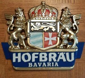 Vintage Hofbrau Imported Bavarian Beer Sign Plastic Hans Holterbosch