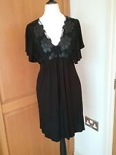 Miss Selfridge short dress/ tunic top. V neck embroidery  detail. 8 ties at back