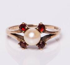 Vintage C1960s 9ct Yellow Gold Pearl & Garnet Ring
