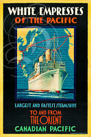 PLAQUE ALU DECO AFFICHE WHITE EMPRESSES OF THE PACIFIC ORIENT CANADIAN SHIPS