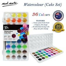 Mont Marte 36 Colours Watercolour Set in Individual Mixing Wells + Paint Brush