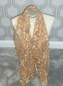 Beautiful Glamorous Large Gold Lace Sparkly Scarf Wrap NEW