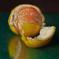 original daily painting contemporary realism still life peeled orange 6x6 Y Wang