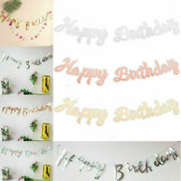 Glitter Letters Happy Birthday Bunting Garland Party Hanging Banner Decors HOT