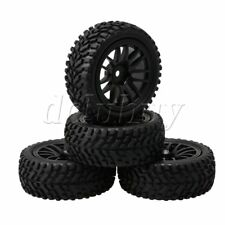 4 Packs 12mm Hex RC1:10 Rally Car Rubber Tyres + 14 Spokes Wheel Rims