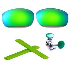 Walleva Polarized Emerald Lenses And Rubber Kit And Bolts For Oakley Jawbone