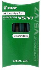 4 Packs Pilot Hi-Tecpoint Roller Ball Pen V5/V7 Cartridges System Refill, GREEN