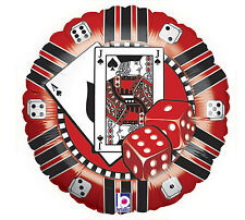 """Casino Chip Blackjack Dice Red Black 18"""" Foil Mylar Balloons Helium Party 3 Pack"""