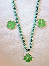 """""""Green Shamrock Charms"""" St. Patrick'S Necklace Mg Bead Shiny Gold Outline (B417)"""