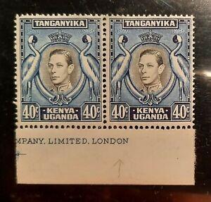 1938 King George VI,  Kenya Uganda Tanganyika, KUT 1938  SG # 143 Х 2