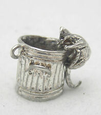 MOVING STERLING SILVER CHARM OF A CAT IN A TRASH CAN
