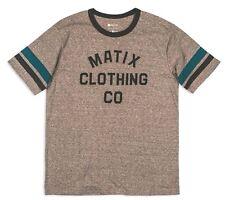 Matix MCC CHECK Mens Short Sleeve T-Shirt Large Heather Grey Marine NEW
