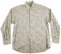 Tommy Bahama Silk Cotton Blend Button Front Shirt Striped L/S Floral Mens Medium