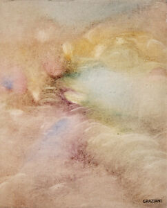 PIERRE GRAZIANI (1932-2020) SIGNED FRENCH OIL CANVAS - 1960's - CLOUDS IN SKY