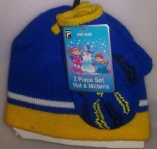 PARIS TODDLERS 2 PC SET 1 HAT 1 PR MITTENS 1 SIZE POWERED UP BLUE & YELLOW A-21