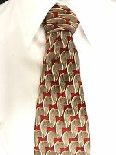"Antonia Collection Tie Burgundy Green Blue Scroll 100% Silk Very Long 69""L 4""W"