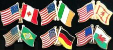 USA Flag & INTERNATIONAL FLAGS 6 LAPEL PIN BADGES CAN IRE SCOT BRAZIL GER WALES!