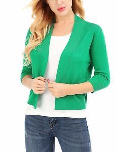 Cardigan for Women 3/4 Sleeve Classic Open Front Plus Size Cropped Bolero Women