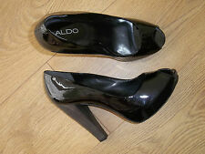 BNWOB ALDO BLACK PATENT LEATHER PEEPTOE COURT SHOES HEELS SIZE 6