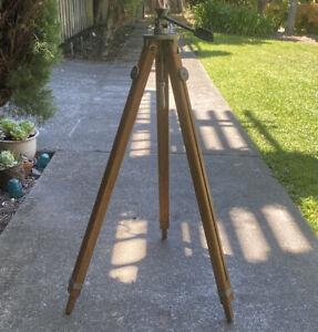 """Vintage Wooden Camera Tripod  Base Extendable Wood Legs Tilt Head abt 30""""-52"""""""