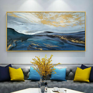 """LL855 Hand-painted abstract gold foil gold powder oil painting Unframed 48"""""""