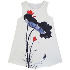 Big Girls Dress Lotus Ink-wash Painting Party Princess Dress Size 7-16