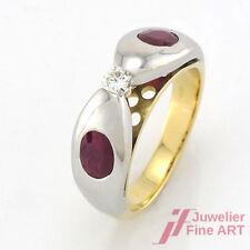 Ring 18K Gelb- & Weißgold - 2 Rubine + Brillant ca. 0,13ct W-SI - Gr. 54 - 7,3 g