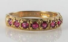 ENGLISH 9CT 9K GOLD INDIAN RUBY HALF ETERNITY RING FREE RESIZE