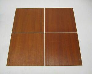 "Set 4 Vtg MCM Danish Walnut Veneer Glass Sliding Doors Credenza Wall Unit 15.25"""