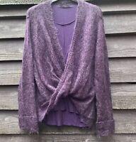 APRIORI Purple Mohair/Wool Blend Wrap Jumper, Attached Viscose Vest UK14 EU42