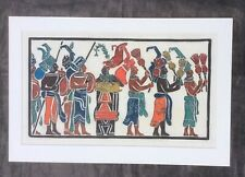 Mayan Glyph Art 'Musicians Of Bonampack'  by Patric Andre  Set of 2 Serigraphs