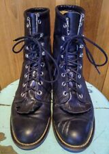 Laredo Black Leather Lace Up Roper Boots wmns Us 7.5 Western Granny Made in Usa!
