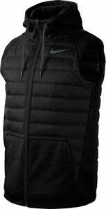 Men Nike Therma Full Zip Winterized Training Vest Black Grey Gray BV4534 011