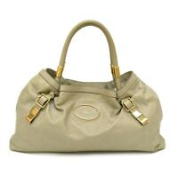 Authentic Chloe Victoria Leather Tote Shoulder Hand Bag Gray Gold Italy