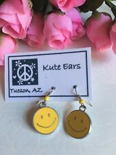 Silvertone Yellow Smile Face Round 1970s Smiley Dangle Earrings