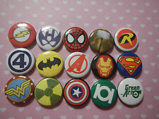 "Super Hero Logo Comic 1"" Pinback Button Pins Badge Goody Treats Party Favor Set"